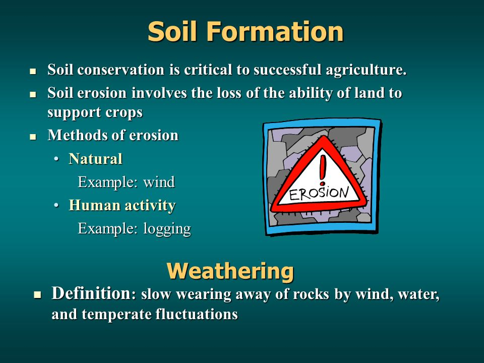 Soil Formation Soil conservation is critical to successful agriculture.