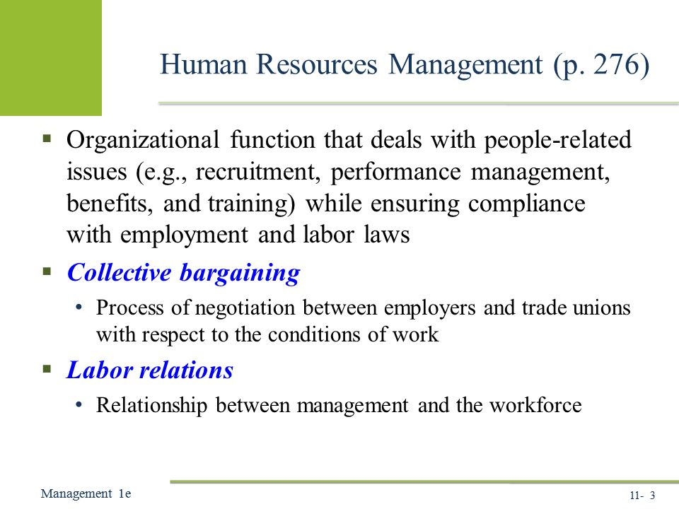11- 3 Management 1e Management 1e Human Resources Management (p.