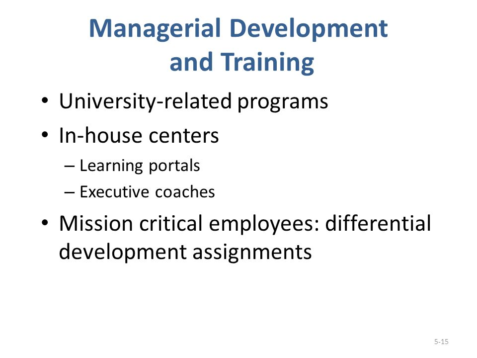 Managerial Development and Training University-related programs In-house centers – Learning portals – Executive coaches Mission critical employees: differential development assignments 5-15