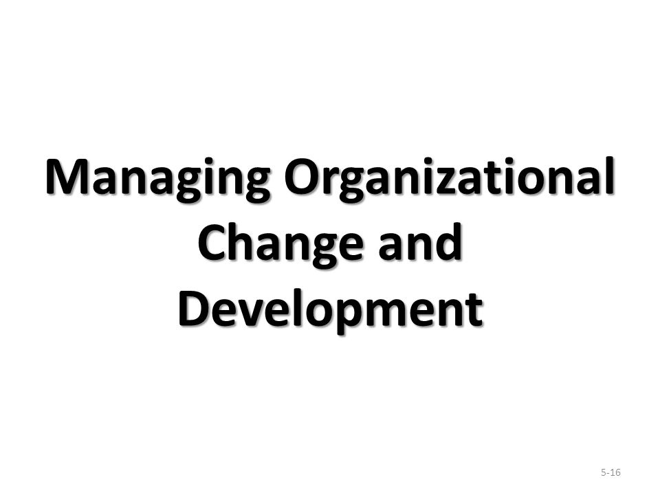 Managing Organizational Change and Development 5-16