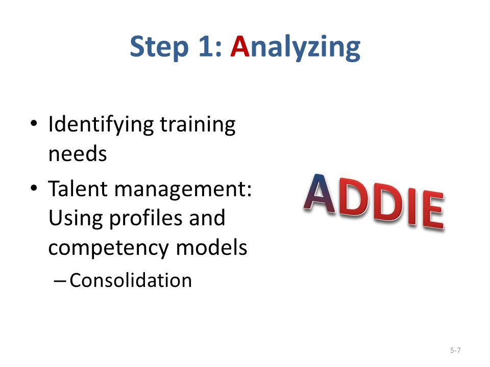 Step 1: Analyzing Identifying training needs Talent management: Using profiles and competency models – Consolidation 5-7