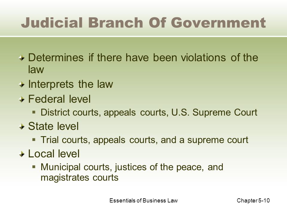 Essentials of Business LawChapter 5-10 Judicial Branch Of Government Determines if there have been violations of the law Interprets the law Federal level  District courts, appeals courts, U.S.