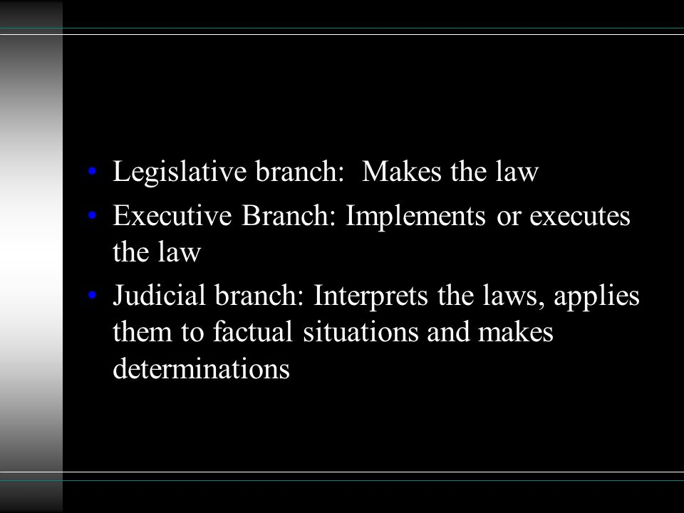 Legislative branch: Makes the law Executive Branch: Implements or executes the law Judicial branch: Interprets the laws, applies them to factual situations and makes determinations