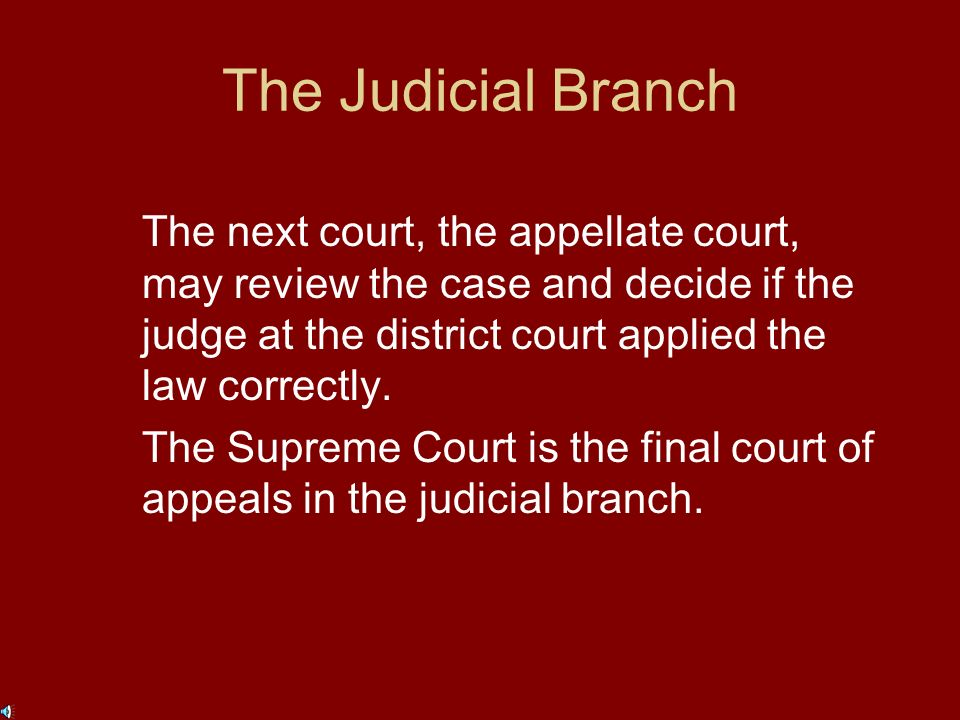 The Judicial Branch The Constitution establishes the Supreme Court and any other courts that are needed to interpret the laws of the United States.