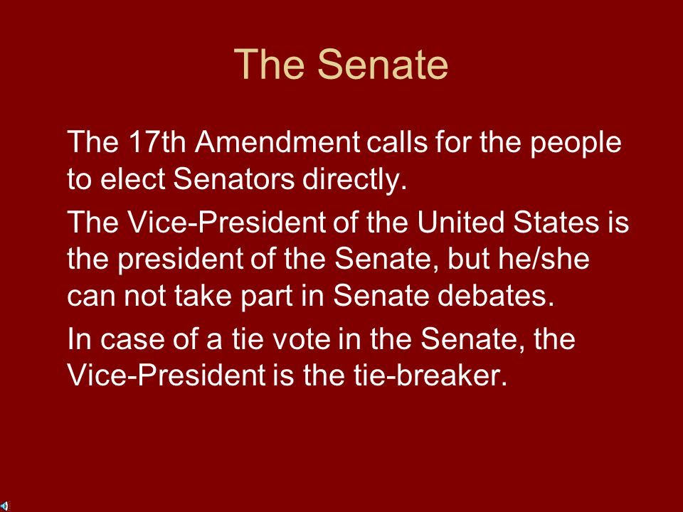 The Senate Representation in the Senate is based on equal representation.