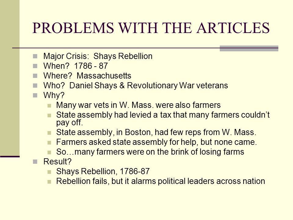 PROBLEMS WITH THE ARTICLES Problems w/Articles of Confed..