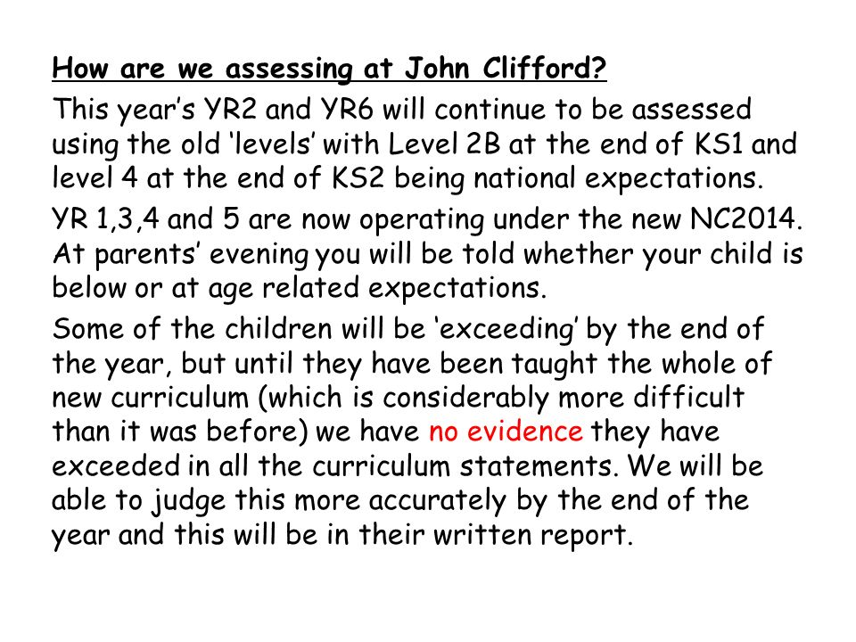 How are we assessing at John Clifford.