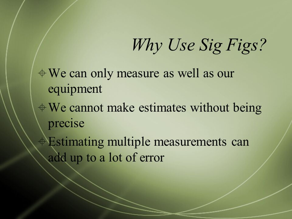 Why Use Sig Figs.