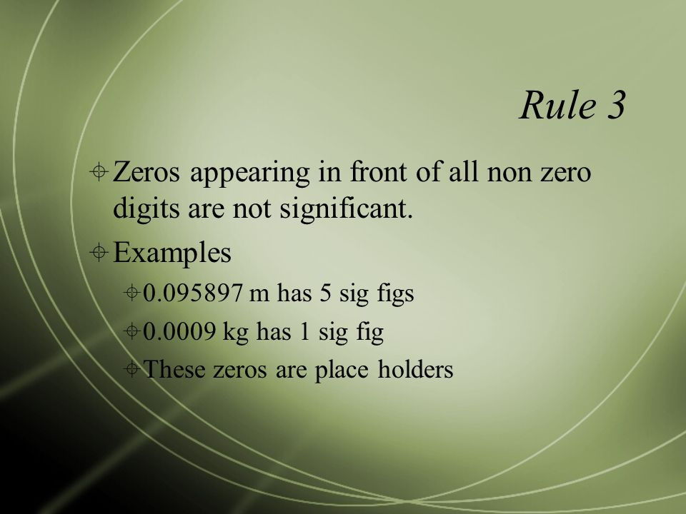 Rule 3  Zeros appearing in front of all non zero digits are not significant.