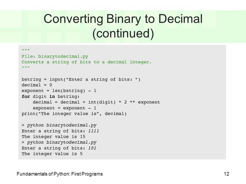 Fundamentals of Python: First Programs Chapter 4: Number