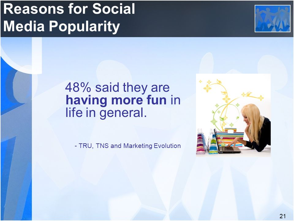 21 Reasons for Social Media Popularity 48% said they are having more fun in life in general.