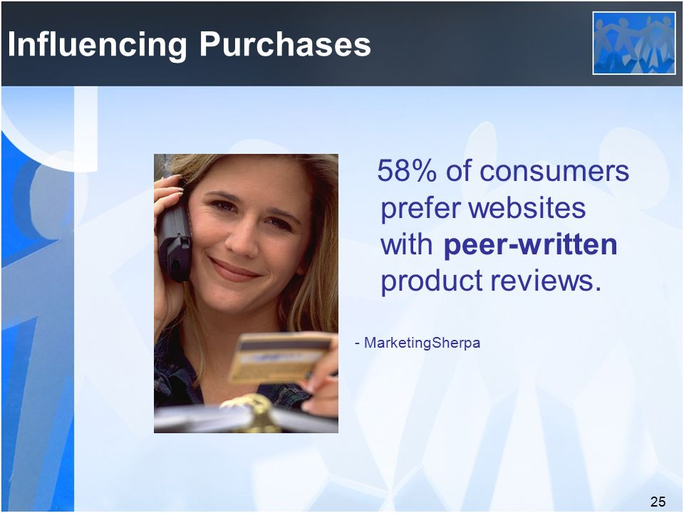 25 Influencing Purchases 58% of consumers prefer websites with peer-written product reviews.