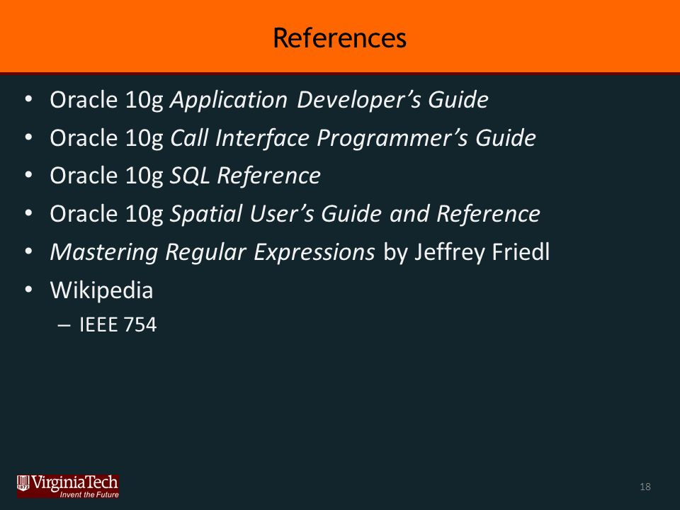 Overview Classes of datatypes available in Oracle 10g