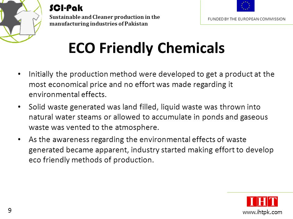 SCI-Pak Sustainable and Cleaner production in the manufacturing