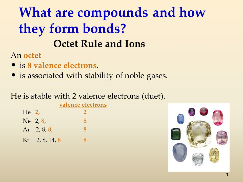 What are compounds and how they form bonds. Octet Rule and Ions An octet is 8 valence electrons.