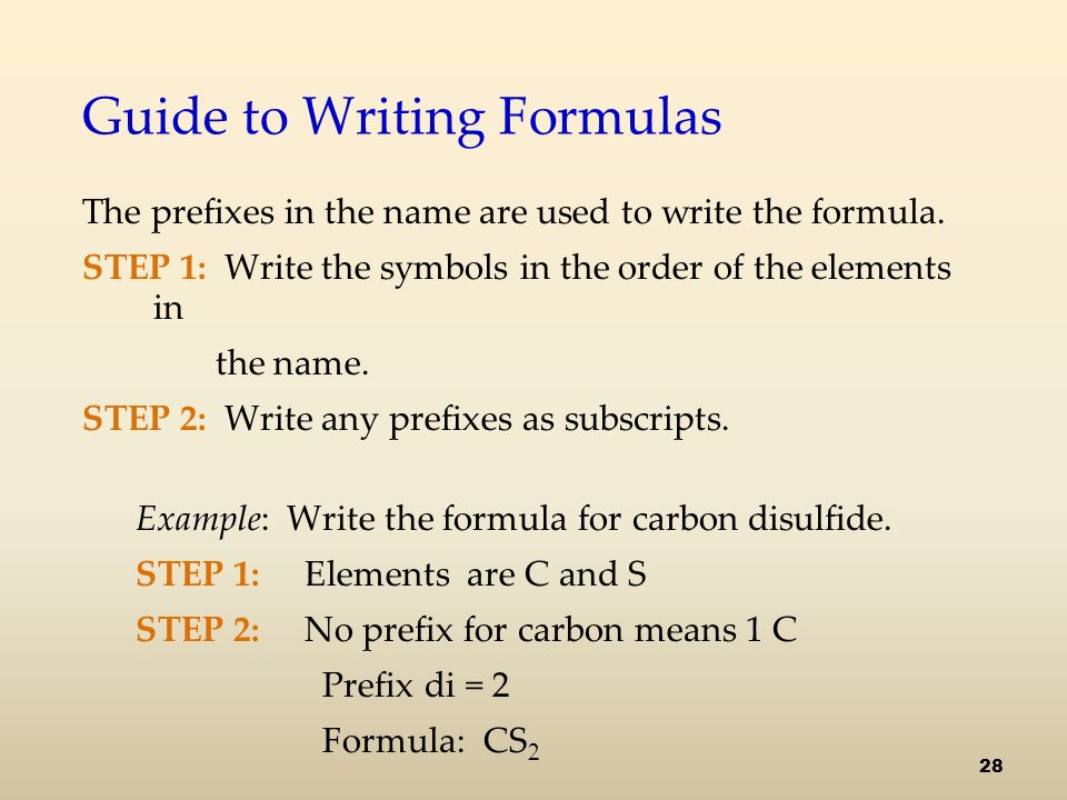 Guide to Writing Formulas The prefixes in the name are used to write the formula.