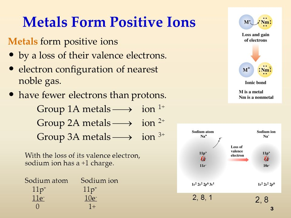 Metals Form Positive Ions Metals form positive ions by a loss of their valence electrons.