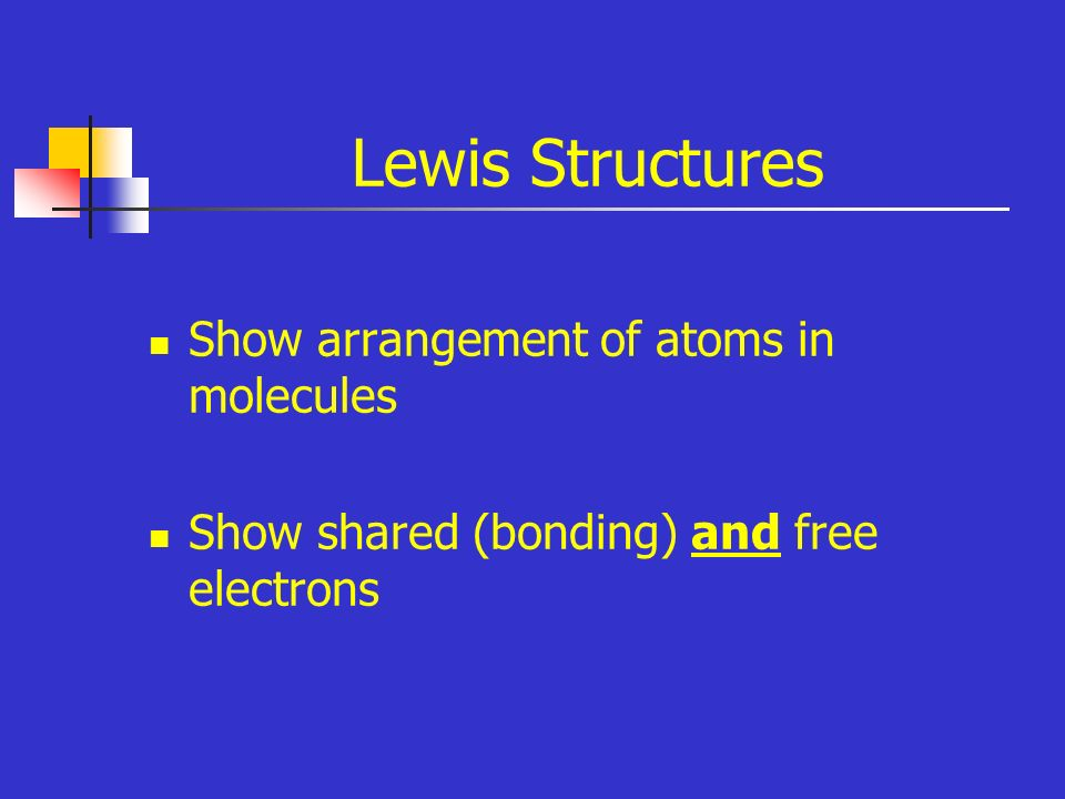 Lewis Structures Show arrangement of atoms in molecules Show shared (bonding) and free electrons