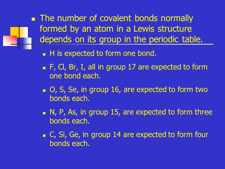 The number of covalent bonds normally formed by an atom in a Lewis structure depends on its group in the periodic table.