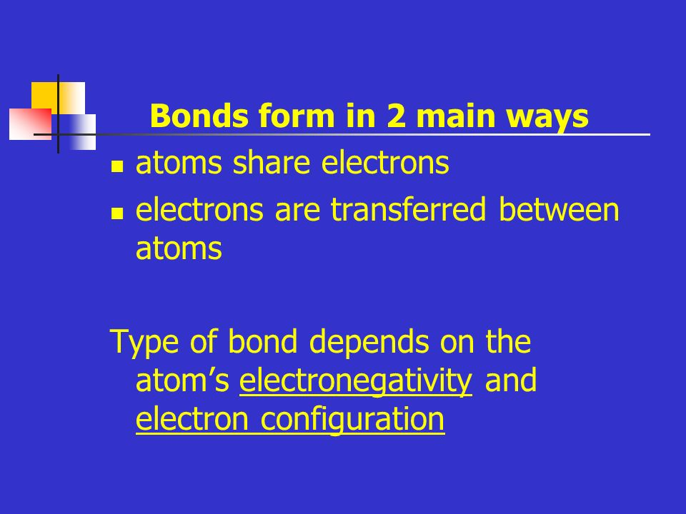 Bonds form in 2 main ways atoms share electrons electrons are transferred between atoms Type of bond depends on the atom's electronegativity and electron configuration