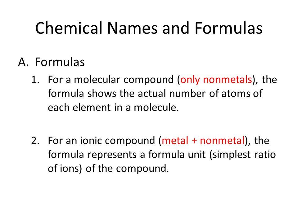 Chemical Names And Formulas Armulas 1r A Molecular Compound