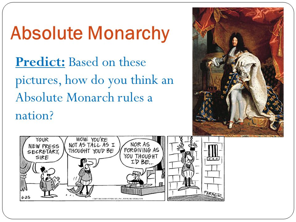 Absolute Monarchy Predict: Based on these pictures, how do you think an Absolute Monarch rules a nation