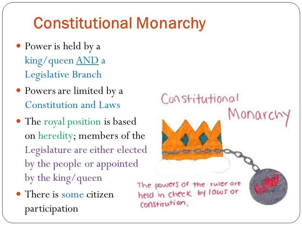 Constitutional Monarchy Power is held by a king/queen AND a Legislative Branch Powers are limited by a Constitution and Laws The royal position is based on heredity; members of the Legislature are either elected by the people or appointed by the king/queen There is some citizen participation