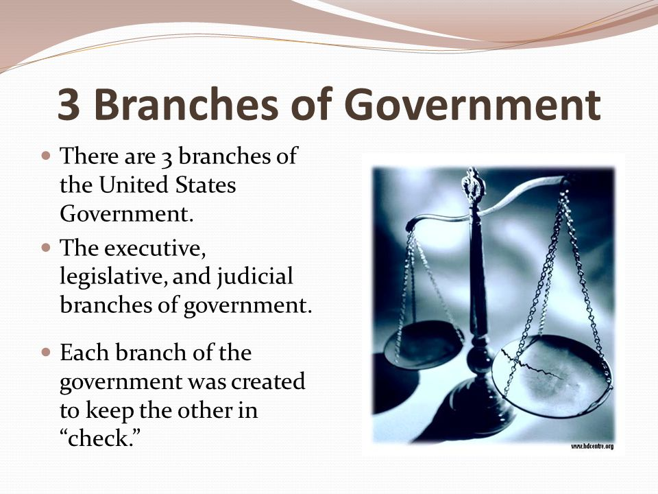 3 Branches of Government There are 3 branches of the United States Government.