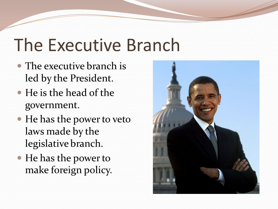 The Executive Branch The executive branch is led by the President.