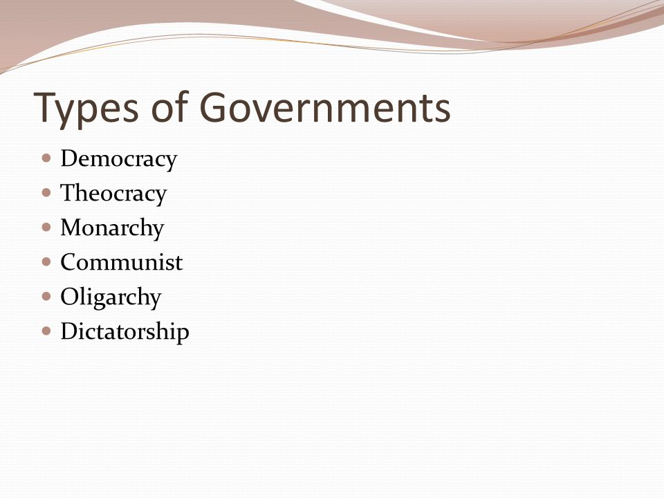 Types of Governments Democracy Theocracy Monarchy Communist Oligarchy Dictatorship