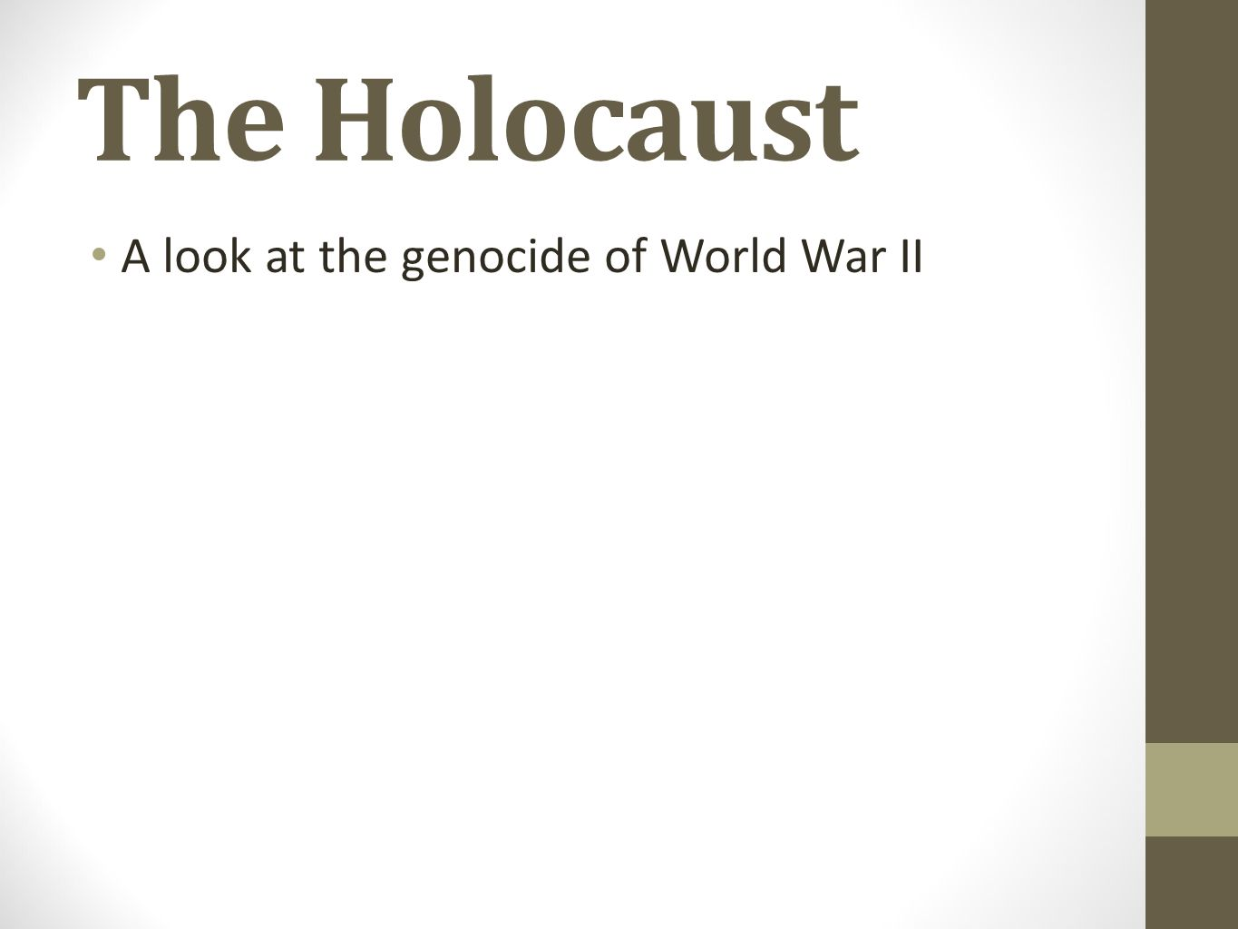 5 words that describe holocaust There are many words to describe the holocaust some words are: horrible- jews were murdered one after the other killing- nazis killed jews it is incorrect to use the word holocaust to describe a period of time and also confusing in the context of world war 2 the word refers to the nazi genocide.