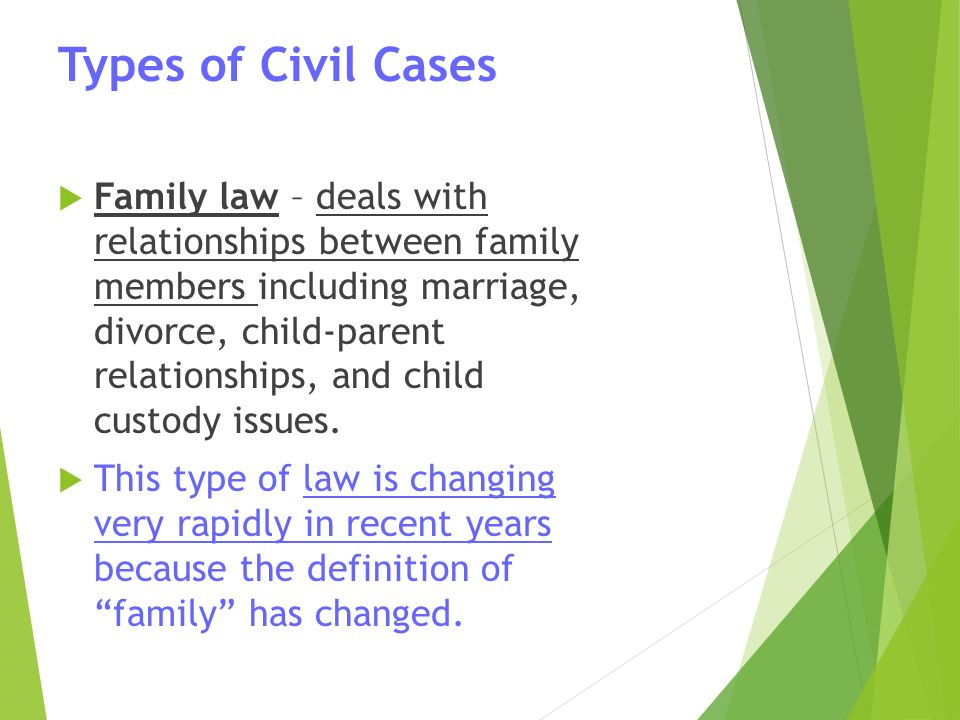 Types of Civil Cases  Family law – deals with relationships between family members including marriage, divorce, child-parent relationships, and child custody issues.