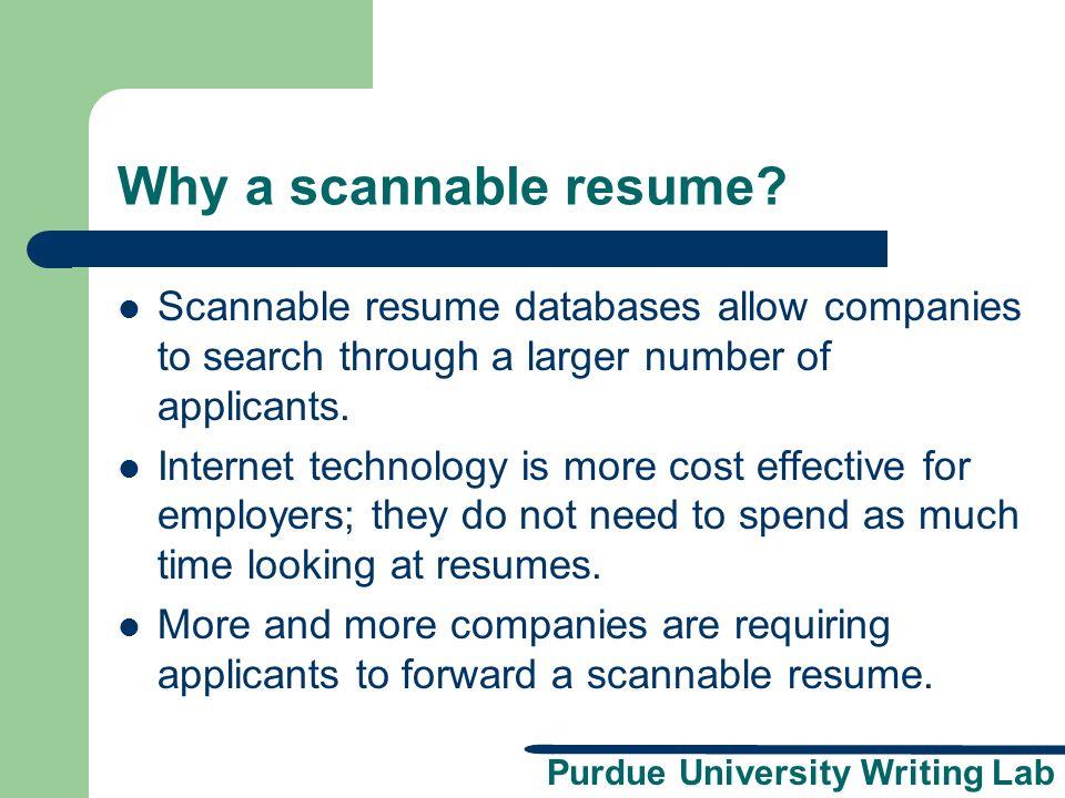 Purdue University Writing Lab Scannable Resumes A Presentation
