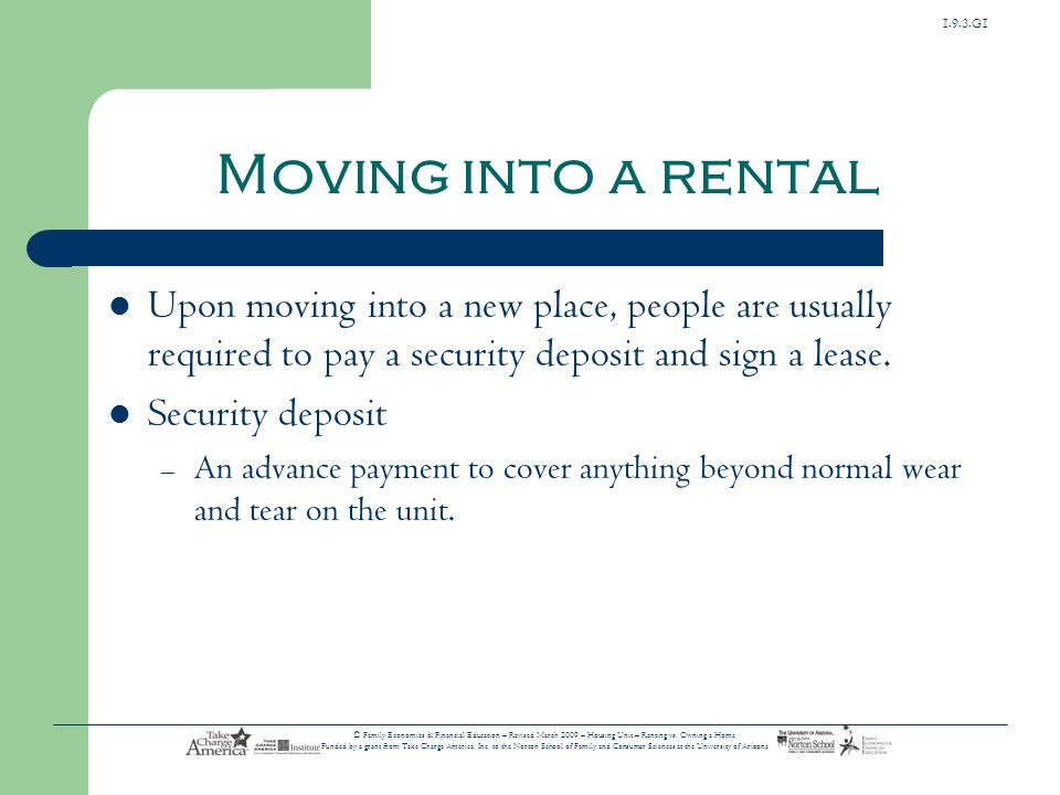 1.9.3.G1 © Family Economics & Financial Education – Revised March 2009 – Housing Unit – Renting vs.