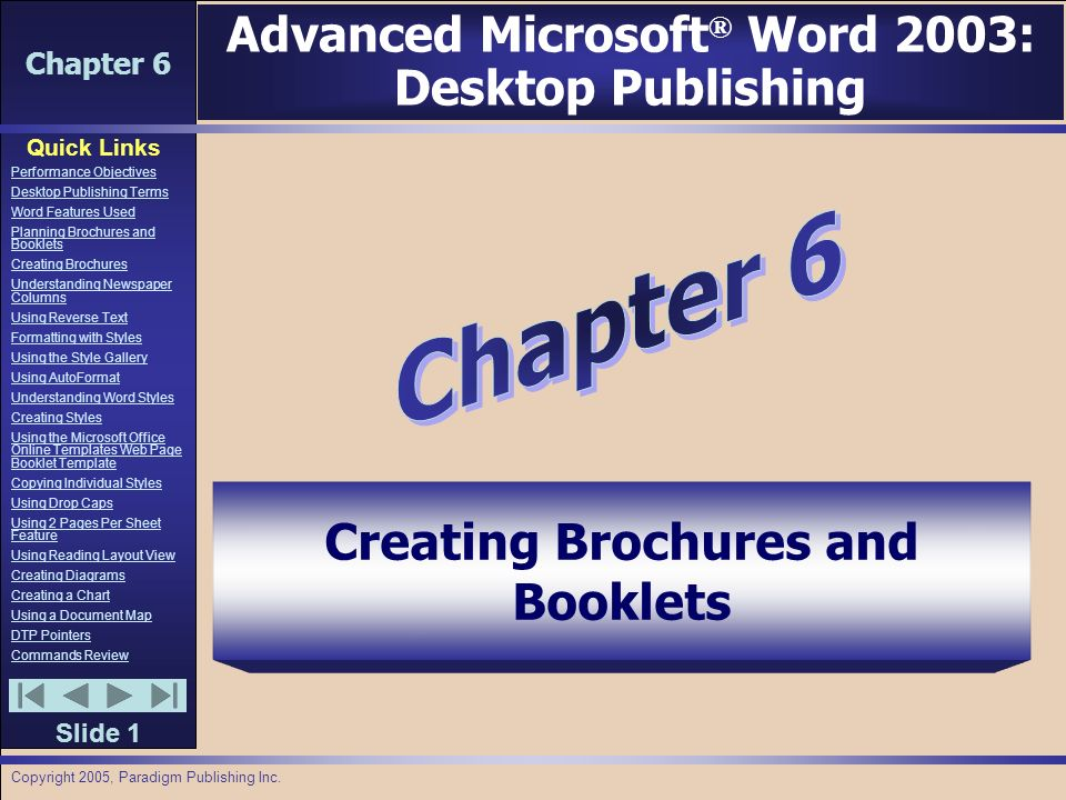 chapter 6 quick links slide 1 performance objectives desktop publishing terms word features used planning brochures