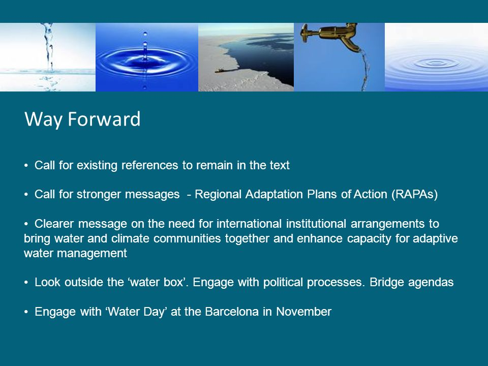 Way Forward Call for existing references to remain in the text Call for stronger messages - Regional Adaptation Plans of Action (RAPAs) Clearer message on the need for international institutional arrangements to bring water and climate communities together and enhance capacity for adaptive water management Look outside the 'water box'.