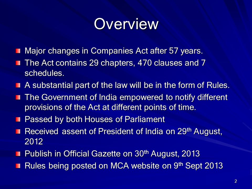 Overview Major changes in Companies Act after 57 years.