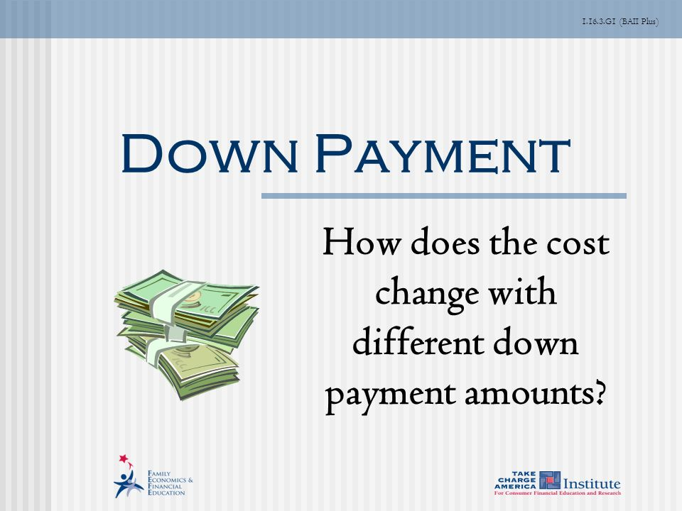 G1 (BAII Plus) Down Payment How does the cost change with different down payment amounts