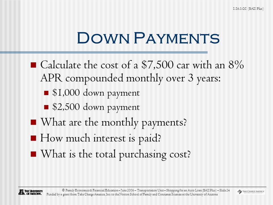 G1 (BAII Plus) © Family Economics & Financial Education – June 2006 – Transportation Unit – Shopping for an Auto Loan (BAII Plus) – Slide 24 Funded by a grant from Take Charge America, Inc.