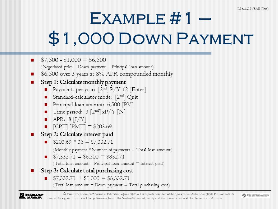 G1 (BAII Plus) © Family Economics & Financial Education – June 2006 – Transportation Unit – Shopping for an Auto Loan (BAII Plus) – Slide 25 Funded by a grant from Take Charge America, Inc.