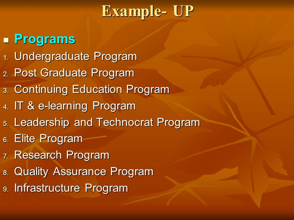 Example- UP Programs Programs 1. Undergraduate Program 2.