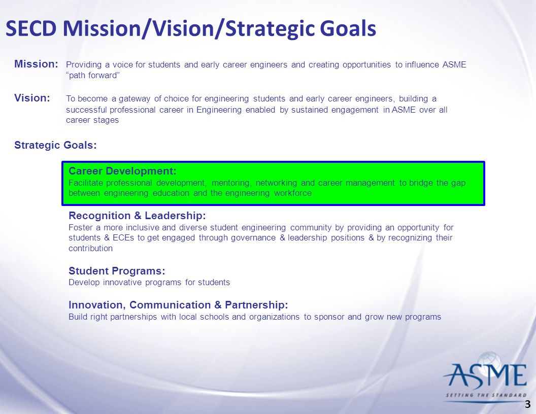SECD Mission/Vision/Strategic Goals Mission: Providing a voice for students and early career engineers and creating opportunities to influence ASME path forward Vision: To become a gateway of choice for engineering students and early career engineers, building a successful professional career in Engineering enabled by sustained engagement in ASME over all career stages Strategic Goals: Career Development: Facilitate professional development, mentoring, networking and career management to bridge the gap between engineering education and the engineering workforce Recognition & Leadership: Foster a more inclusive and diverse student engineering community by providing an opportunity for students & ECEs to get engaged through governance & leadership positions & by recognizing their contribution Student Programs: Develop innovative programs for students Innovation, Communication & Partnership: Build right partnerships with local schools and organizations to sponsor and grow new programs 3
