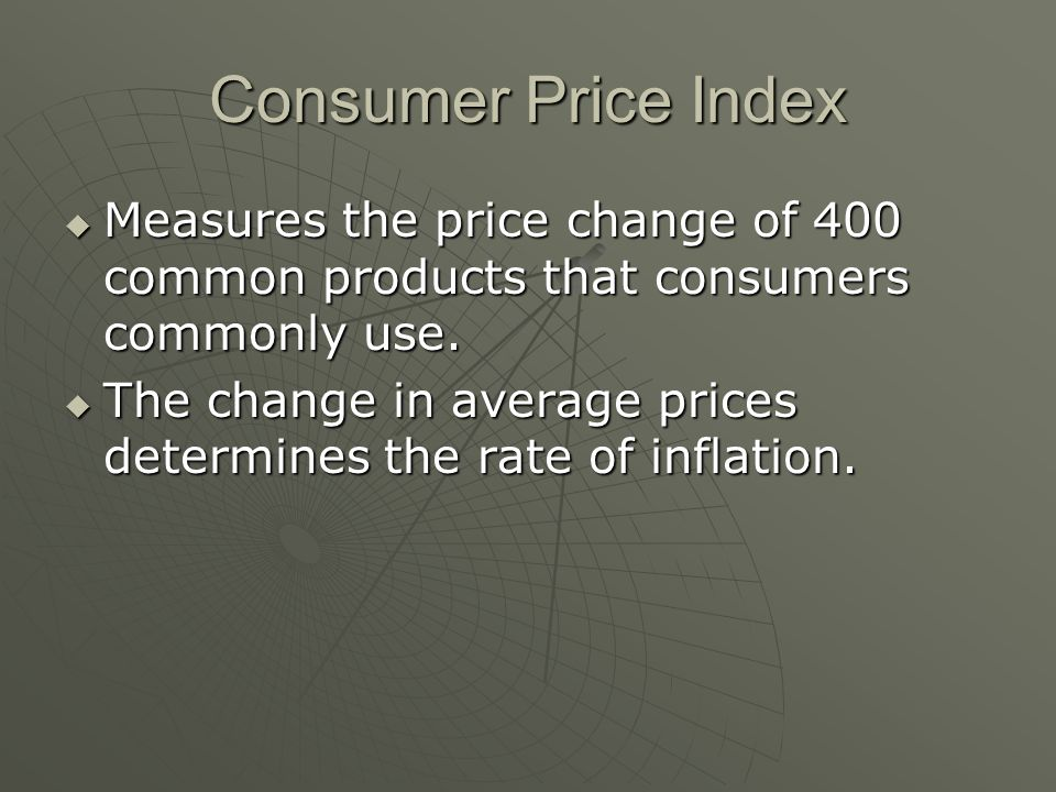 Consumer Price Index  Measures the price change of 400 common products that consumers commonly use.
