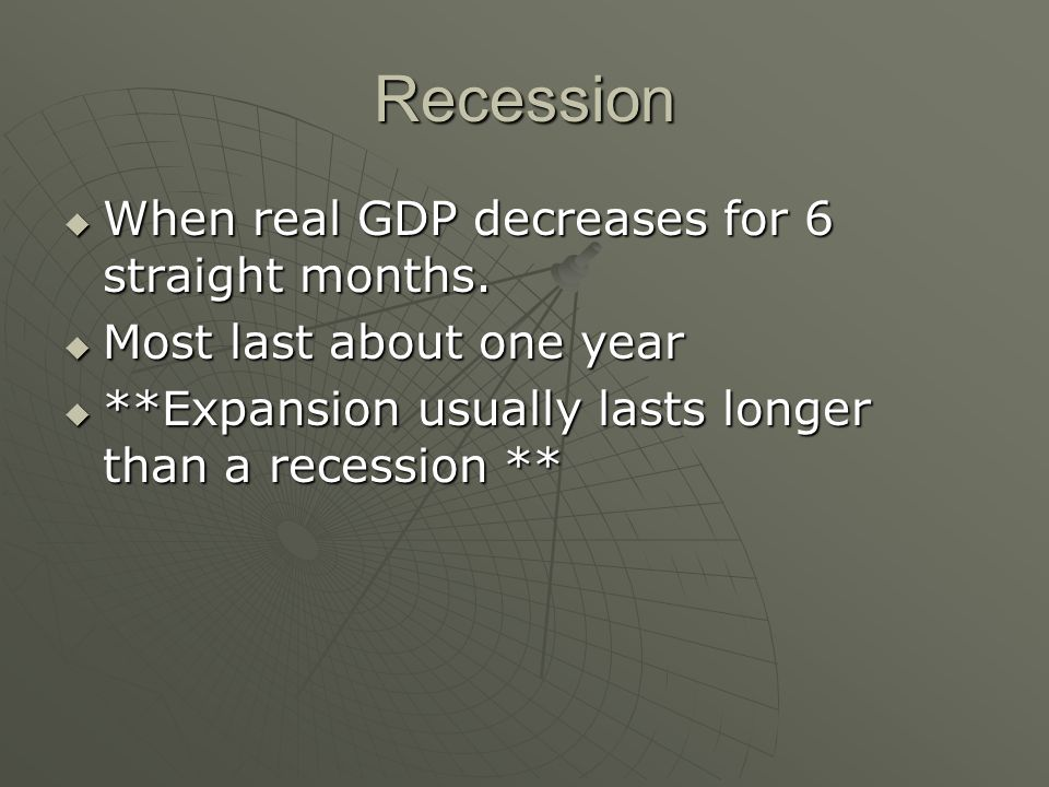 Recession  When real GDP decreases for 6 straight months.