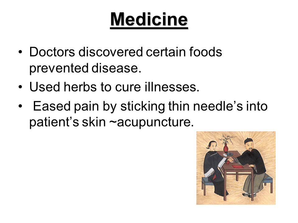 Medicine Doctors discovered certain foods prevented disease.