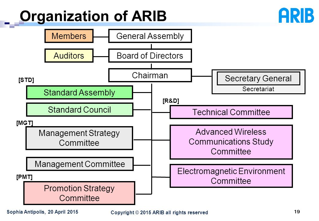 Copyright © 2015 ARIB all rights reserved Organization of ARIB 19 Sophia Antipolis, 20 April 2015 General Assembly Board of Directors Chairman Members Secretariat Secretary General Auditors Standard Council Standard Assembly Technical Committee Advanced Wireless Communications Study Committee Electromagnetic Environment Committee Promotion Strategy Committee Management Strategy Committee Management Committee [R&D] [MGT] [PMT] [STD]