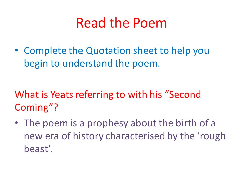 summary of second coming by wb yeats