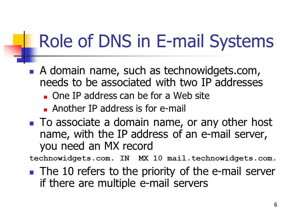 6 Role of DNS in  Systems A domain name, such as technowidgets.com, needs to be associated with two IP addresses One IP address can be for a Web site Another IP address is for  To associate a domain name, or any other host name, with the IP address of an  server, you need an MX record technowidgets.com.