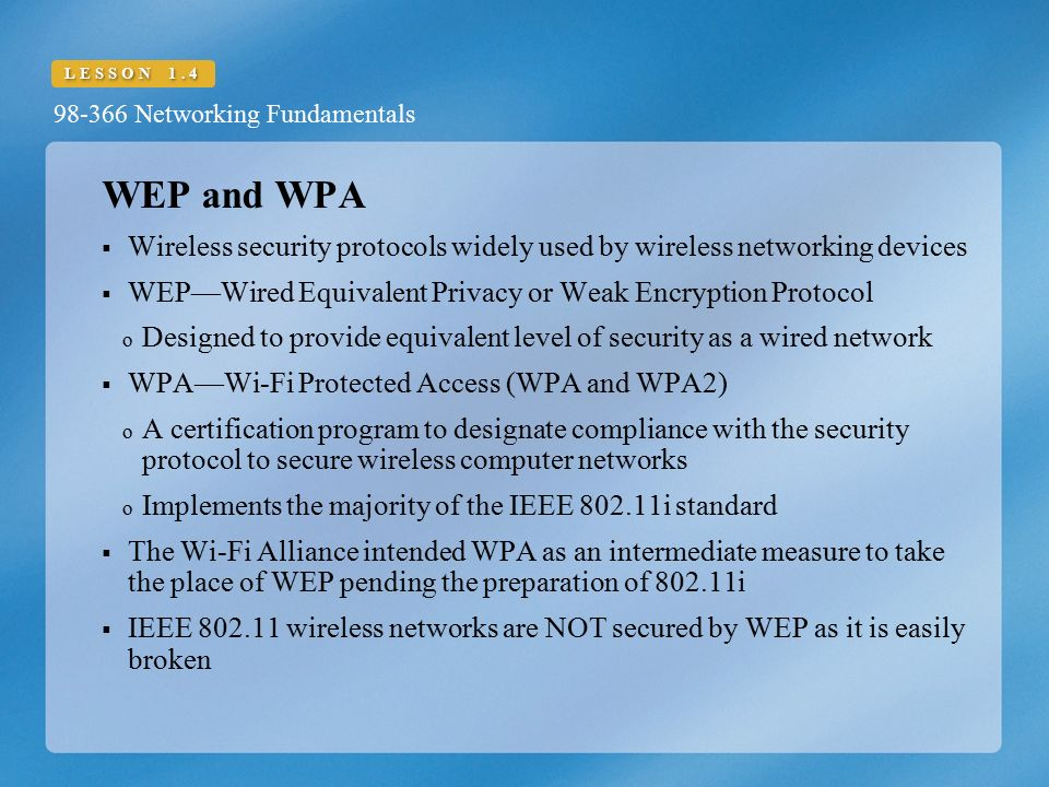 LESSON Networking Fundamentals Understand Wireless Networking  - ppt