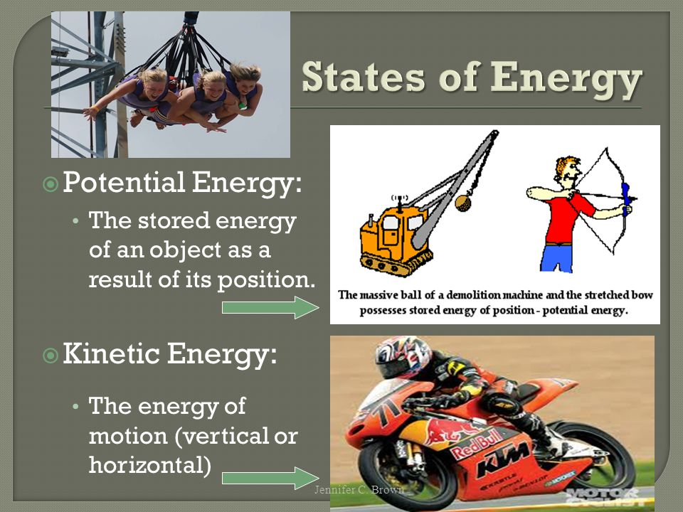 States of Energy  Potential Energy: The stored energy of an object as a result of its position.